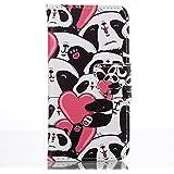 Rabat Style Portefeuille Samsung Galaxy A3 (2016) / A310 Coque Protection Anti Choc, Carte Titulaire PU Cuir Poids léger Case Cover ( Rose ), Pandas Motif