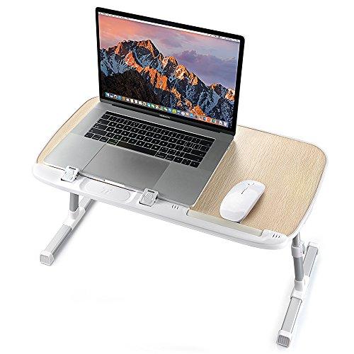 TaoTronics Höhenverstellbarer Laptoptisch, Faltbarer Betttisch, Notebook Ständer, Breiter Stehschreibtisch, Sofatisch mit einklappbaren Beinen, auch als Frühstückstablett, Klappbarer Tisch & mehr