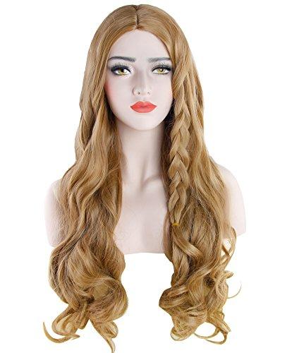 Discoball - parrucca bionda da donna, con capelli lunghi e ricci, per cosplay, travestimenti e feste, con retina inclusa