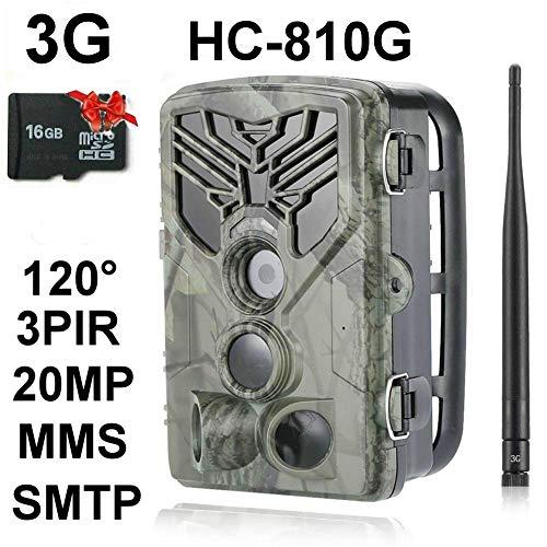 3G Wildkamera HC-810G 20MP Full HD 44 Black LED 0,3 Sek Trigger 120° Fotofalle Überwachungskamera Jagdkamera GSM MMS SMTP SMS Jagd Wild Kamera Hunting Trail Camera Suntek 3G 2G