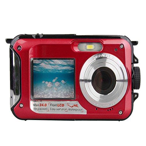 MagiDeal W8D Dual LCD Screen Wasserdicht Unterwasser Kamera 24 Megapixel HD Digitalkamera - Rot