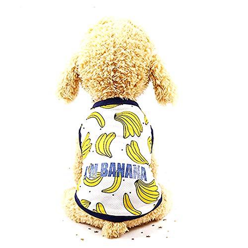 Snner 1Pc Hund Kleid Banana Muster Netter Haustier-Welpen-Hundesommer-Haustier-Kleidung-Rock-T-Shirt...