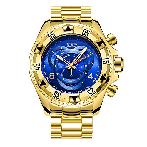 EASTPOLE Uhren, Geschäft Herren Großes Zifferblatt Luxus Rostfreier Stahl Quarz Wasserdicht Armbanduhr WMB073