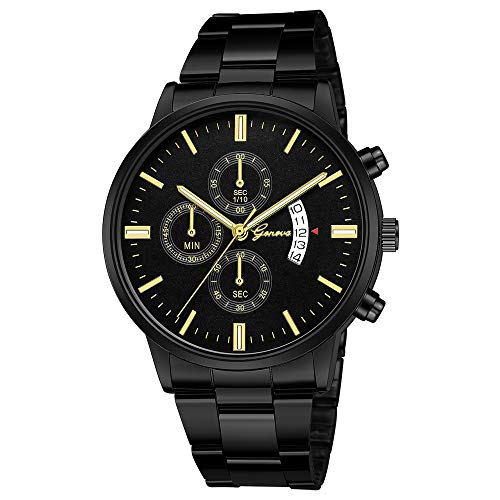 NINGSANJIN Herrenuhren schwarz matt Quarz mit edelstahlarmband Armbanduhren für Herren Gold billig