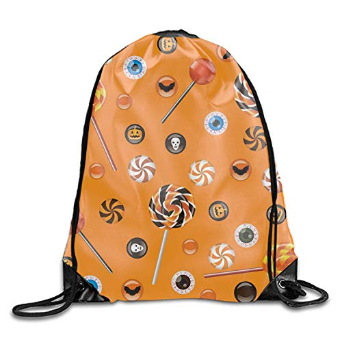 ucksäcke, Halloween Sweets Cool Teens Drawstring Backpack String Bags Gym Halloween sweets4 Lightweight Unique 17x14 IN ()