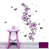 Wandtattoo Wandaufkleber Wandsticker Wandbild Aufkleber Sticker Blumenranke Hibiskus Hawaiiblumen M1804 ausgewählte Farbe: *lila* ausgewählte Größe: *S - 17cm breit x 50cm hoch*