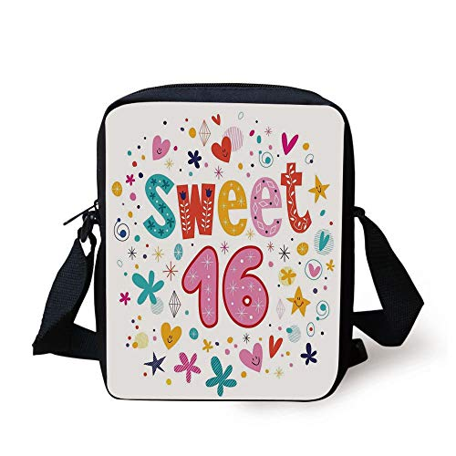 CBBBB 16th Birthday Decorations,Sweet New Age Years with Heart Figures Dots Blooms Vintage Motif,Multicolor Print Kids Crossbody Messenger Bag Purse
