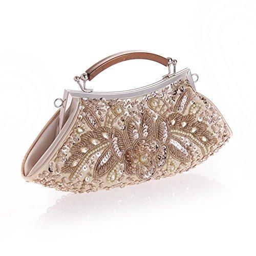 sallyshiny Damen Luxus-Pailletten Perlen Kristall Handtasche Abend Clutch Party Hochzeit Tragetaschen Aprikose