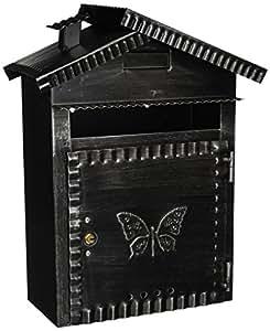 Vigor Blinky 27340-20 Boîte aux lettres en fer forgé patiné en forme de maisonnette 22 x 12 x 35cm