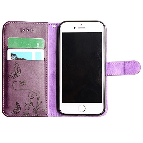 CellularOutfitter Apple iPhone 7 Leather Wallet Case - Embossed Butterfly Design w/ Matching Detachable Case and Wristlet - Taupe Purple