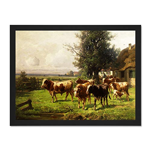 Doppelganger33 LTD Painting Landscape Rural Chelius Dachau Cow Herd Art Large Framed Art Print Poster Wall Decor 18x24 inch Supplied Ready to Hang -
