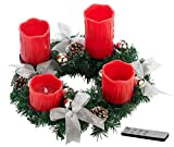 Britesta Weihnachtsgesteck-Kranz: Adventskranz mit roten LED-Kerzen, silbern geschmückt (Adventkranz)
