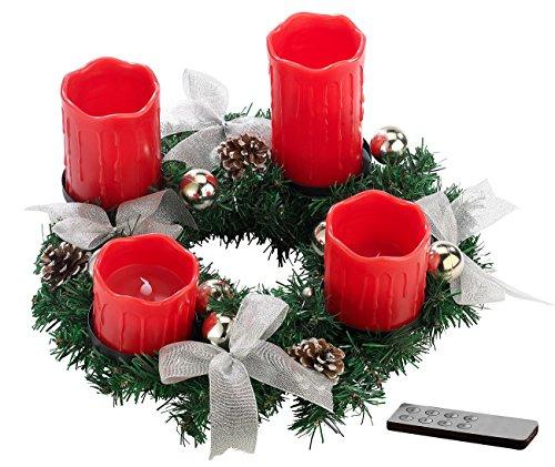 Kranz Tannenzapfen-kerze (Britesta Weihnachtsgesteck-Kranz: Adventskranz mit roten LED-Kerzen, silbern geschmückt (Adventkranz))