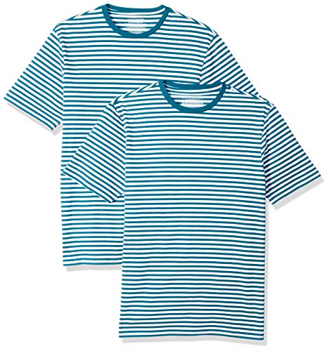 Amazon Essentials Herren Slim-fit Short-Sleeve Stripe Crewneck T-Shirts 2er Pack,Blau(Teal/White),X-Small -