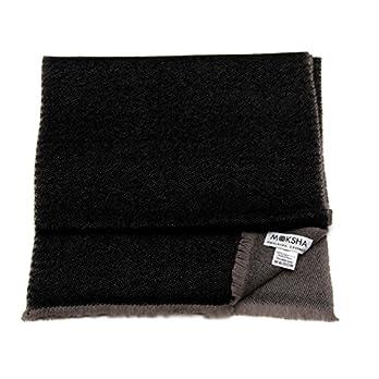 100% Kaschmir Reversible Schal Herren Leicht, 26/2 Mongolische Garn Zusammensetzung, Handgewebt, Handgewebt, Schwarz und Grau © Moksha Kaschmir