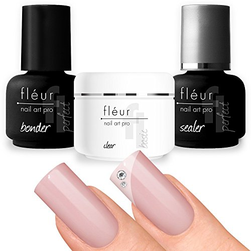 fleur-basic-set-bonding-gel-15-ml-uv-builder-gel-clear-medium-viscosity-g-and-seal-15ml-transparent-