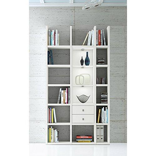 Wandregal Lack weiß LED Wohnzimmer Bücherregal Aktenregal Standregal Wohnwand