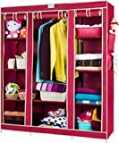 #5: HOUZIE 66inch Portable Wardrobe rack Cabinet Collapsible Clothes Storage Rack DIY