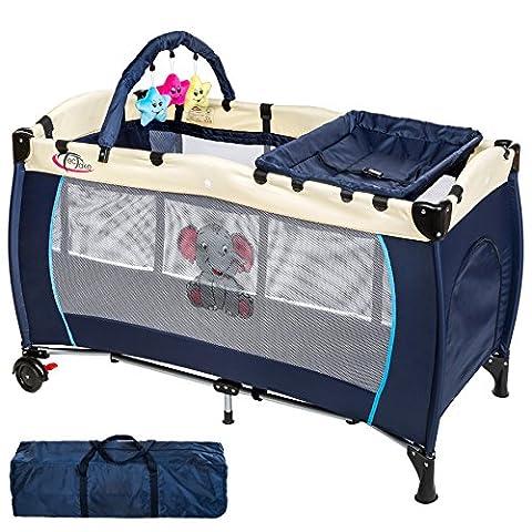 TecTake Kinder Reisebett höhenverstellbar mit Babyeinlage