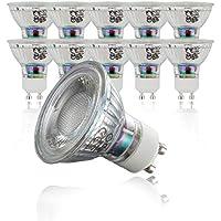 10x5W Bombillas LED GU10 Ø50mm I Luz blanco cálido 3000K 400lm 230V I Foco LED I Iluminacion I Pack de 10