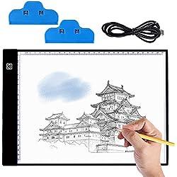 Mesa de Luz Dibujo A4, BASEIN Ultrathin 3.5mm A4 USB LED Tablet Box Tracer Para Dibujo, LED Tableta de Luz de Lluminación, Bocetos, Pintura Diamante Artcraft Tattoo Acolchado Rastreo por Número Kit