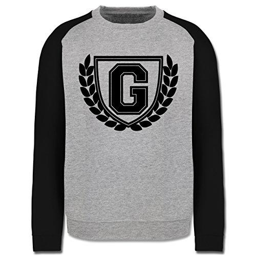 Anfangsbuchstaben - G Collegestyle - Herren Baseball Pullover Grau Meliert/Schwarz
