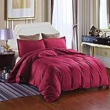 XZ Bettwäsche-Set Bettbezug Bettwäsche Microfaser mit Kissenbezug Hotelqualität Reversibler Einfarbig Soft hypoallergen Reißverschluss Insert Tröster Protector,red,superking