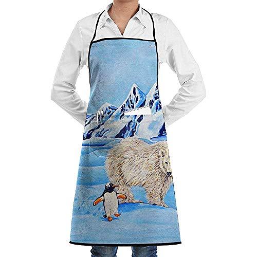 UQ Galaxy Küche Schürzen,Niedliche Pinguin und Bär Kunst Malerei Schürze Spitze Adult Chef einstellbar Lange voll schwarz Kochen Küche Schürzen Lätzchen mit Taschen zum Basteln Garten - Bär Hält Mann Kostüm