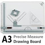 Tablero de Dibujo A3, Preciva Drawing Board A3 50 x 36.5cm Diseño de Mesa con Movimiento Paralelo y Ángulo Ajustable,Color blanco