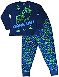 ThePyjamaFactory Boy's Space Invader Game On Controller Long Pyjamas 7-14 Years Green Navy