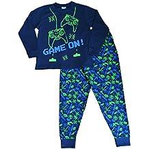 Pijama largo para niños con mensaje: «Game On», invasor del espacio,