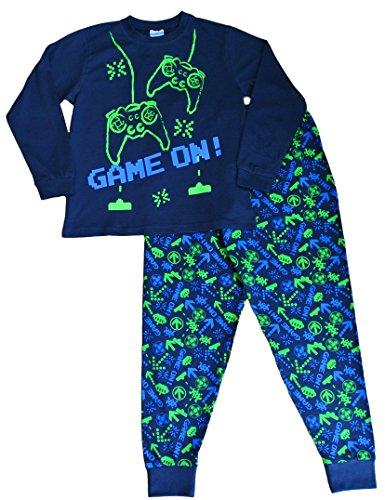 Pijama largo para niños con mensaje: «Game On», invasor del espacio, talla de 7 a 14 años, color verde y azul Azul azul 13 años