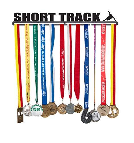 Medaillenhalter Medaille Aufhänger Medal Hanger Display - Version Name: Short Track - 56 cm! - Medaillen zum Aufhängen: 40 - Stahl mit Schwarzem Pulver überzogen - In Einem Festen Paket Verpackt -
