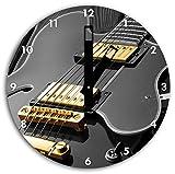 elegante E-Gitarre schwarz/weiß , Wanduhr Durchmesser 30cm mit schwarzen eckigen Zeigern und Ziffernblatt, Dekoartikel, Designuhr, Aluverbund sehr schön für Wohnzimmer, Kinderzimmer, Arbeitszimmer