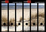 Set 6 Stück Ordner-Etiketten selbstklebend Ordnerrücken Sticker Dünengräser am Meer