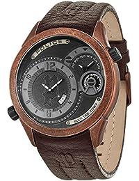 Police para hombre-reloj analógico de cuarzo cuero Illusion P14195JSQBZ -02