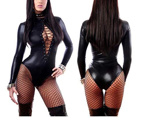 Egurs Frauen PVC Kunstleder Sexy Wet Look Bodysuit Lace Up Teddy Lingeries Plus Größe XL