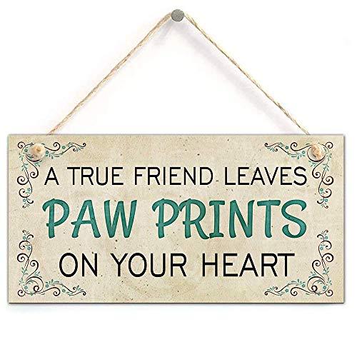 zhongfei Placa Conmemorativa de un Verdadero Amigo con diseño de Huellas en su corazón, para Colgar Mascotas, Perros, Gatos, 12,7 x 25,4 cm