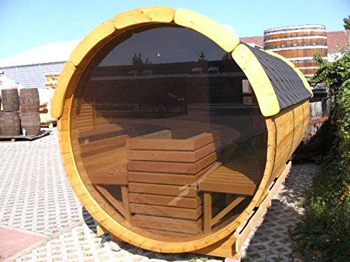 JUNIT Saunafass aus Fichte mit Panorama-Glaswand, 1m Vorraum ohne Terrasse für 6 Personen