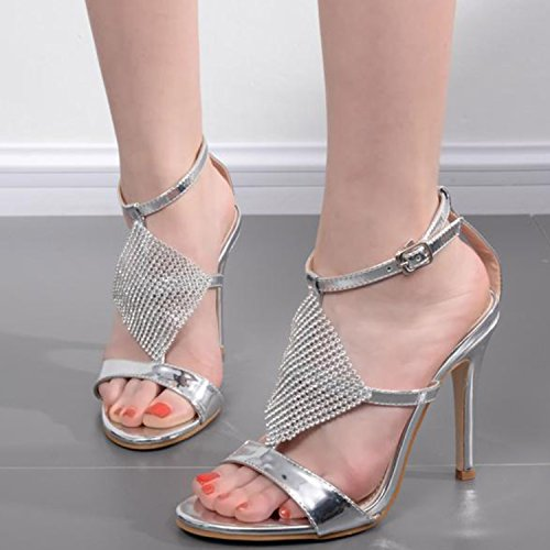 Oasap Women's Open Toe Rhinestone T-strap Stiletto Heels Sandals Silver