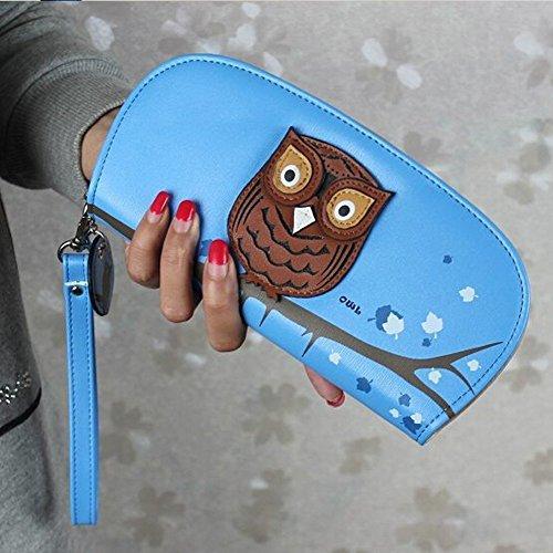 Minetom Donne e Ragazze Carino Gufo Leather Portafoglio Lungo Breve TitolareDellaCartaPochettePortafoglioBorsa Multifunzionale Borsetta ( Marina 2 ) Blu 3
