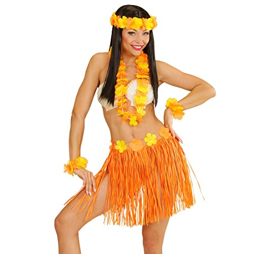 Hawaii Set orange Damen Aloha Kostüm Hawaiirock Armband Bastrock Halskette Kopfschmuck Blumenkette Hularock Schmuck Bast Rock Hawaiikette