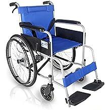 G&M Silla de accionamiento médico de ruedas de aleación de aluminio de peso ligero plegable Autopropulsada silla de ruedas con freno Oscilación lejos reposapiés , blue