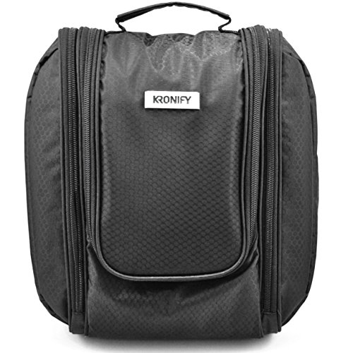 KRONIFY Großer Premium Kulturbeutel zum Aufhängen   Reise-Kosmetiktasche mit Spiegel   Kulturtasche mit Haken für Damen und Herren (Schwarz)