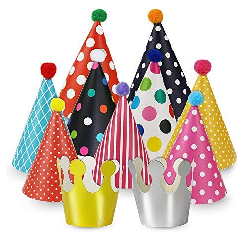 Newin Star Kinder Geburtstag Hut 11 Stück Party-Hüte aus Bunt Papier für Kinder Geburtstags-Party (9 Hüte und 2 Kronen)