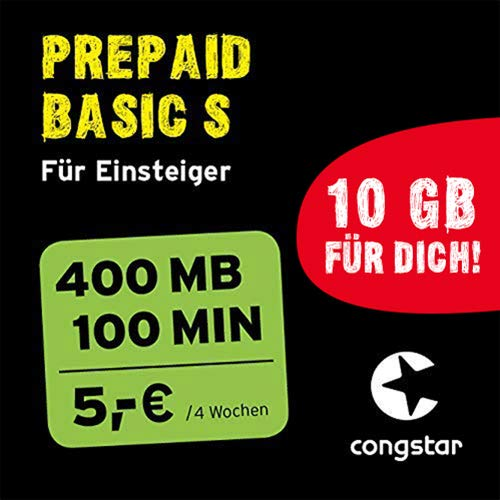 congstar Prepaid Basic S Paket [SIM, Micro-SIM und Nano-SIM] - Das Prepaid-Paket für Einsteiger in Bester D-Netz-Qualität