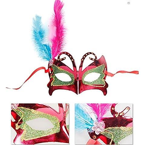 DAYAN Fiesta de Carnaval Mascarada Halloween Mascara Antifaz Venecianana Centelleante Misterioso Plumas color rojo