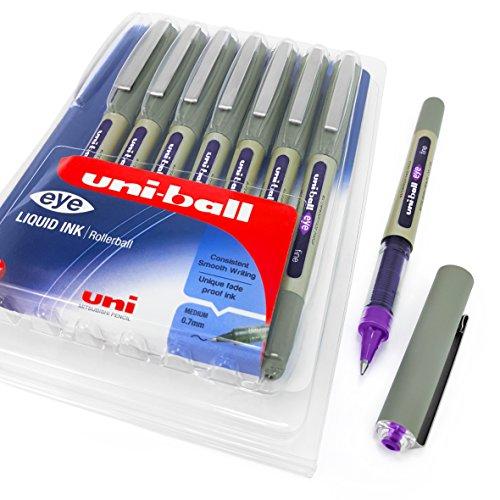Uni-Ball-UB-157-Penne a sfera, tratto 0.7mm-Violet Purple Ink-Portafoglio di 8