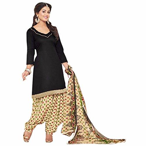 Generic Black Colour Gleze Cotton Fabric Patiala Salwar Suit Dupatta Material. (Unstitched)