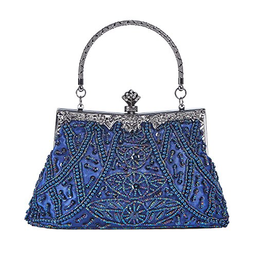 Borsa Vintage Da Donna In Stile Vintage Con Paillettes In Paillettes, Borsa Da Sera Con Pochette Blu